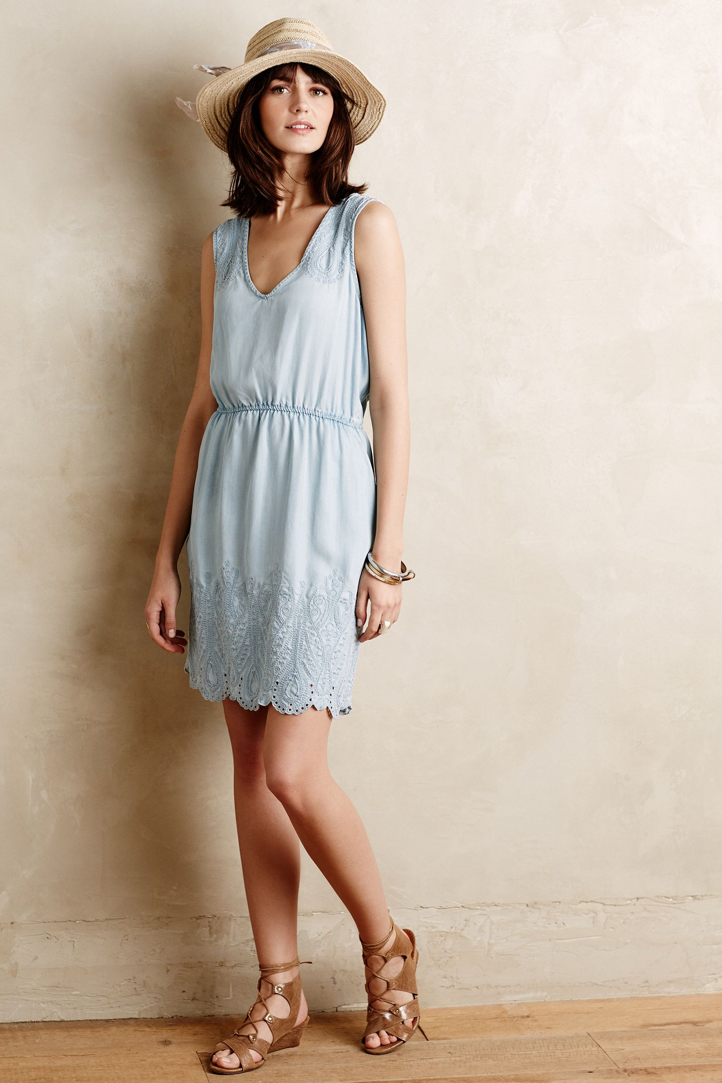 56ab637880e0 Embroidered Chambray Dress