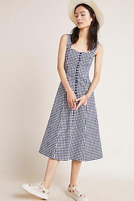 Slide View: 1: Gingham Midi Dress