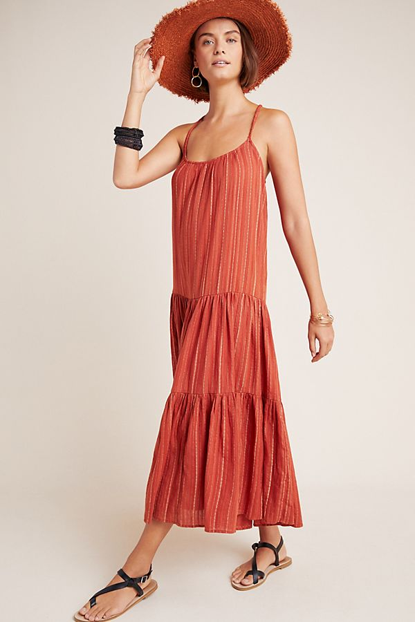 Slide View: 1: Frye x Anthropologie Alyssa Tiered Maxi Dress