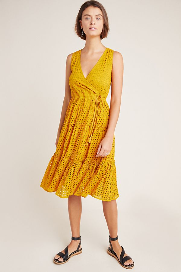 Slide View: 1: Frye x Anthropologie Nuri Eyelet Wrap Dress