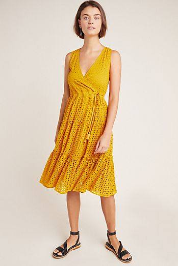 3b9e502d0c Frye x Anthropologie Nuri Eyelet Wrap Dress