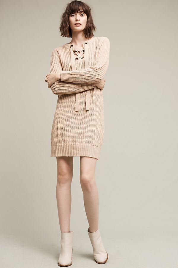 7aab7c42d7c Lace-Up Sweater Dress