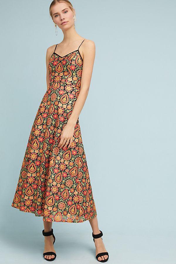 8609bd34 ML Monique Lhuillier Floral Midi Dress   Anthropologie