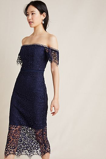 b23087afd9d4 ML Monique Lhuillier Off-The-Shoulder Lace Dress