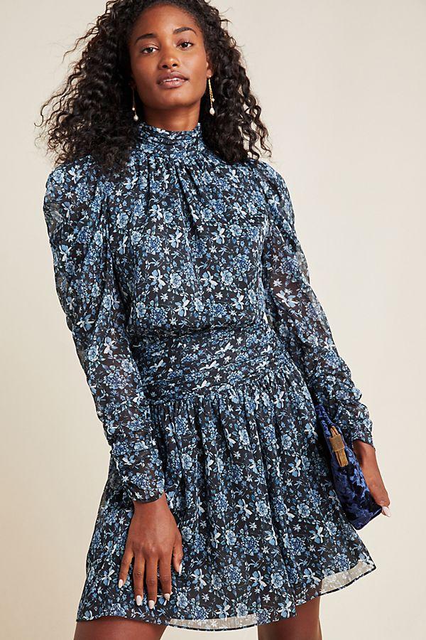 Slide View: 1: ML Monique Lhuillier Zoya Puff-Sleeved Mini Dress