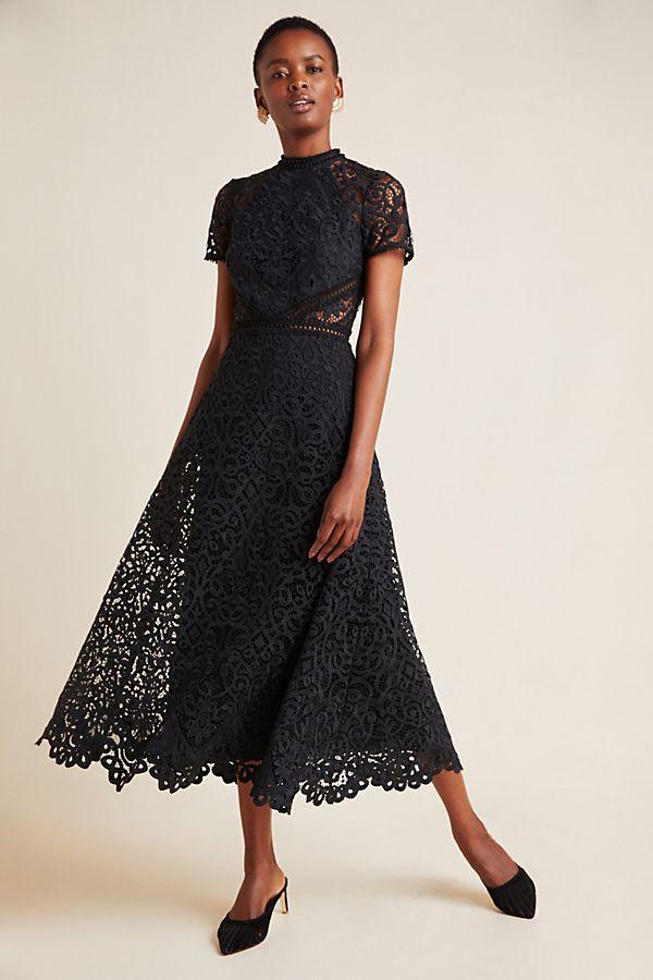 Slide View: 1: ML Monique Lhuillier Lace Maxi Dress