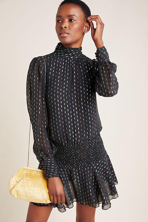 Slide View: 1: ML Monique Lhuillier Smocked Mini Dress