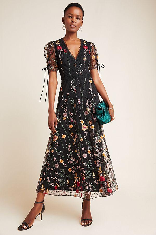 Slide View: 1: ML Monique Lhuillier Tasha Embroidered Maxi Dress
