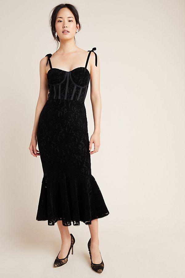 Slide View: 1: ML Monique Lhuillier Velvet Maxi Dress