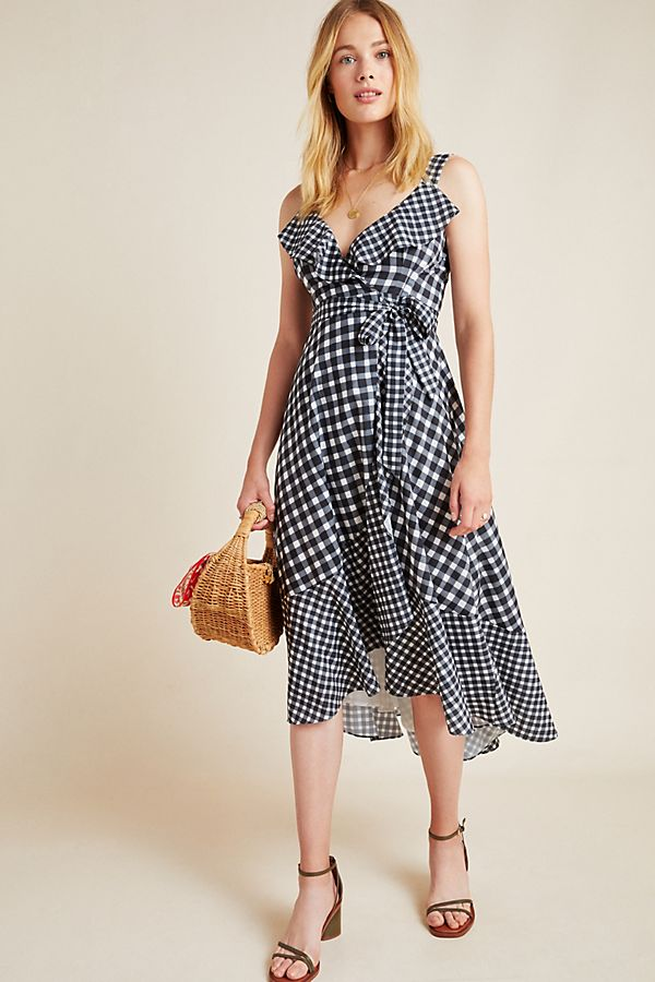 Slide View: 1: Allison Gingham Wrap Dress