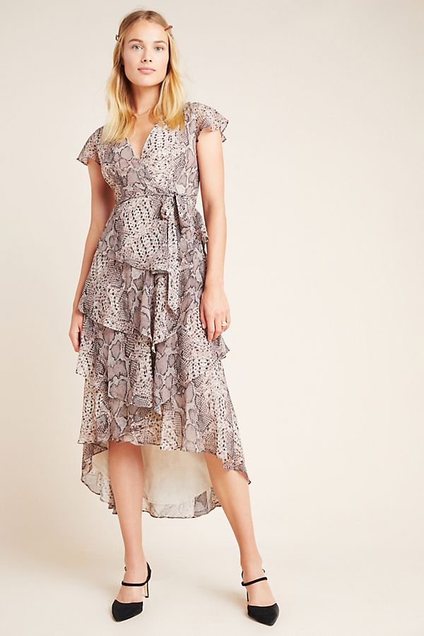 Slide View: 1: Serpentine Ruffled Midi Wrap Dress