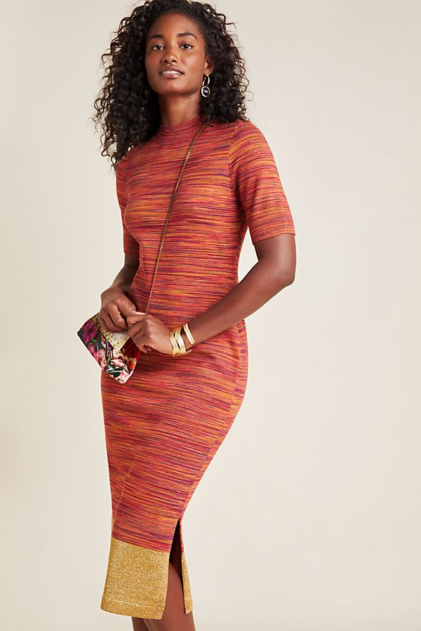 Slide View: 1: Lindy Mock Neck Knit Midi Dress
