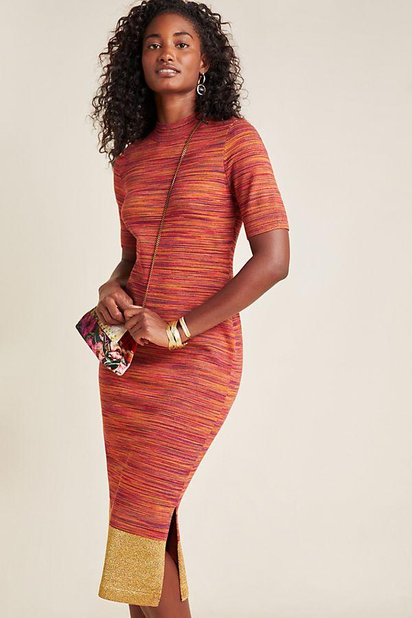 Slide View: 1: Lindy Mock Neck Knit Midi Dress