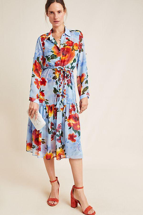 Slide View: 1: Marsala Floral Shirtdress