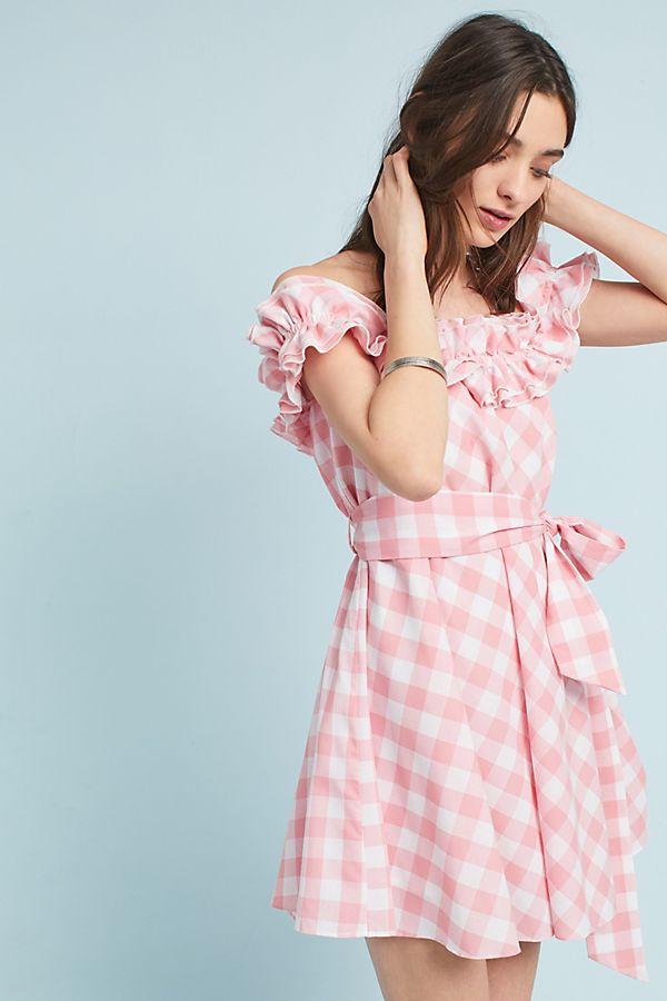 2b44655f3a3 Gingham Off-The-Shoulder Mini Dress