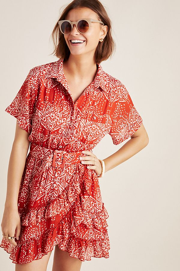 Slide View: 1: Melbourne Ruffled Shirtdress