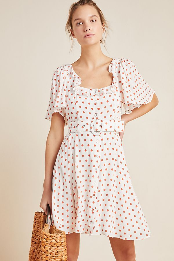 Slide View: 1: Daisy Dotted Mini Dress