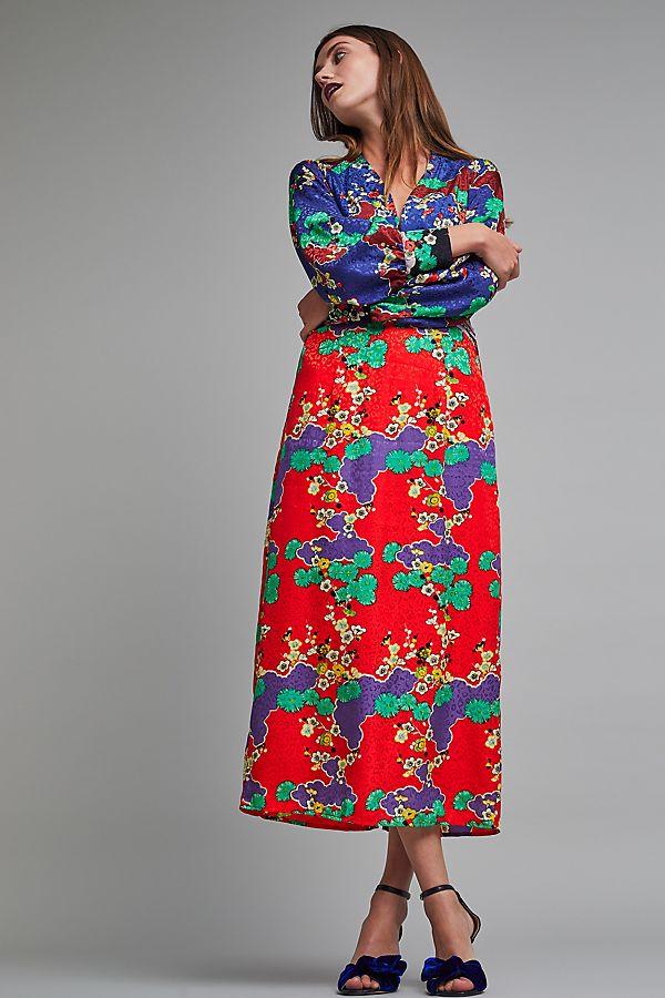 348fb2f9723 Fedora Jacquard Silk Maxi Dress | Anthropologie UK