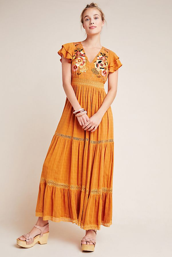 Slide View: 1: Embroidered Tiered Maxi Dress