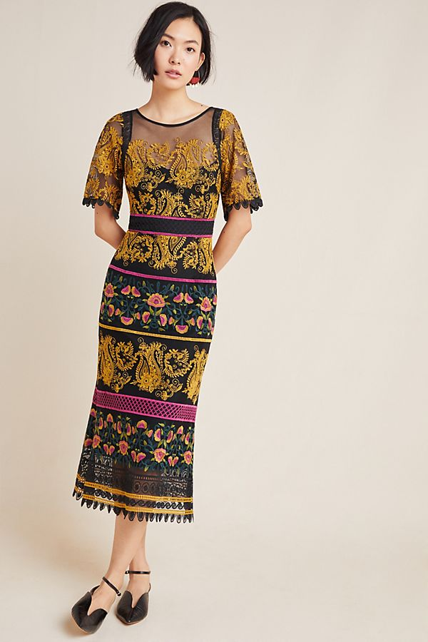 Slide View: 1: Jacquin Embroidered Midi Dress