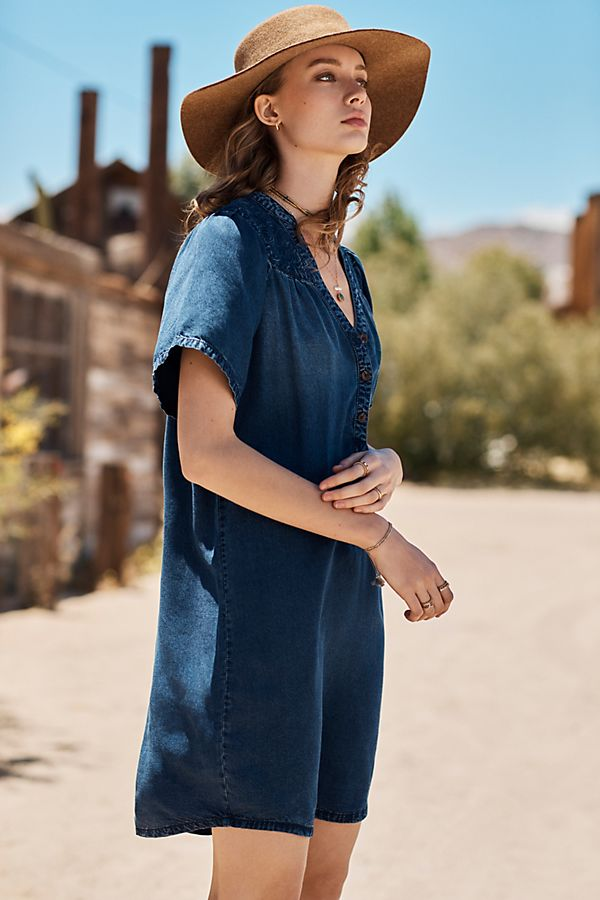 Slide View: 1: Pilcro Chambray Tunic Dress