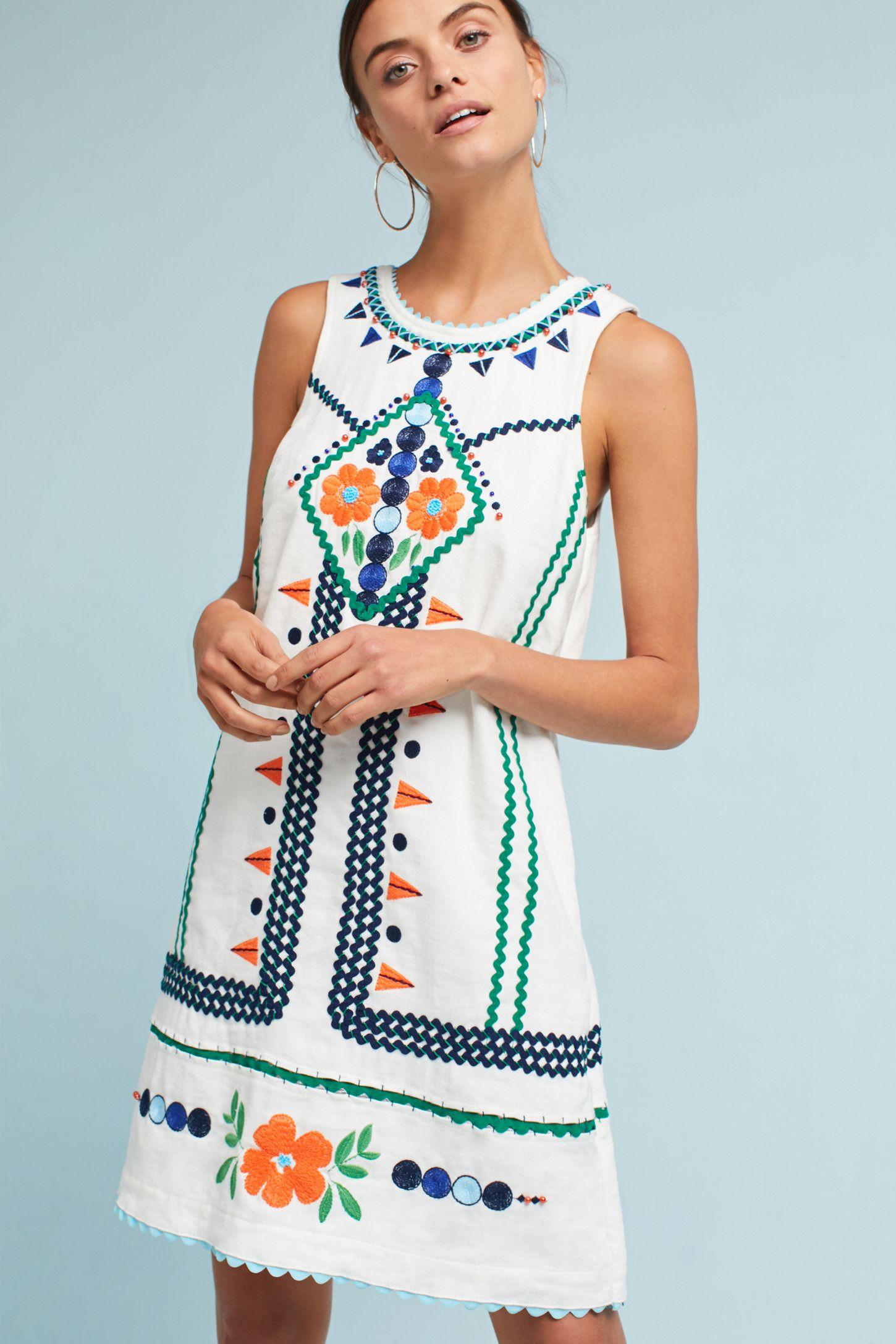 9b415523be6 Embellished Linen Shift Dress