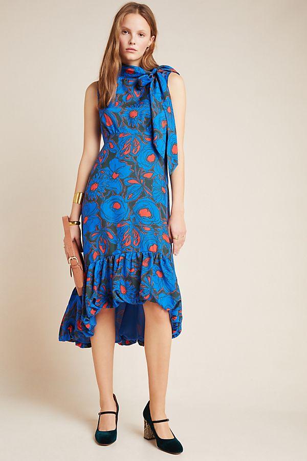 Slide View: 1: Evangeline Tie-Neck Midi Dress
