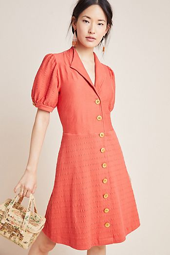 dc2c83093009 Collared Button-Front Dress