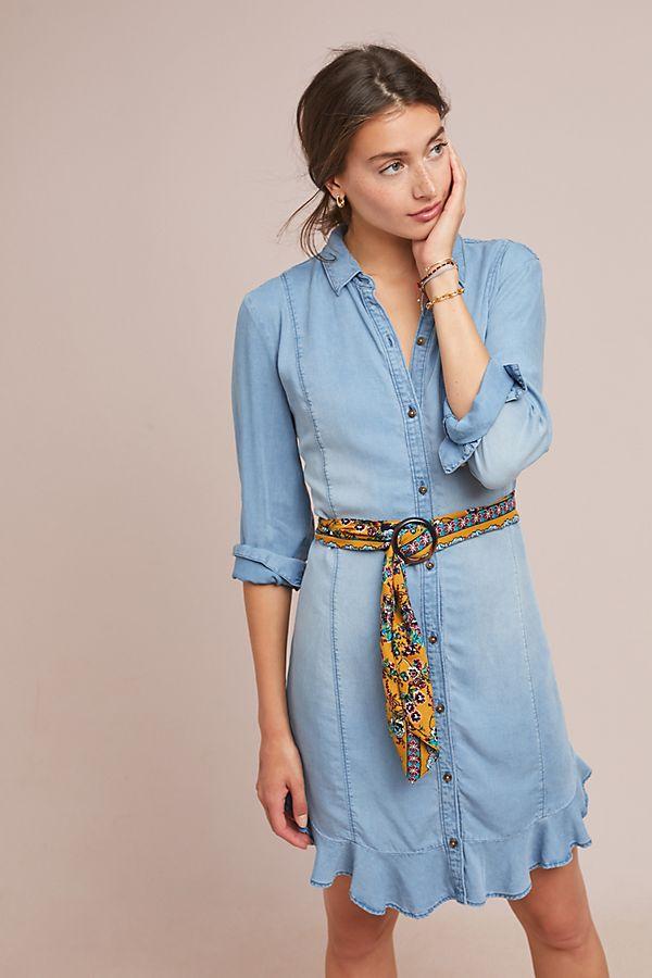 0c97f23da45 Pilcro Belted Chambray Shirtdress