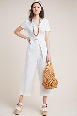 Slide View: 1: Bow-Tied Eyelet Jumpsuit