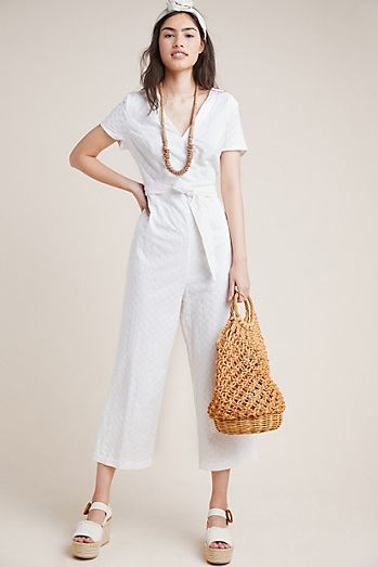 558551fa7154 Bow-Tied Eyelet Jumpsuit
