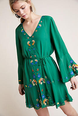 Slide View: 1: Farm Rio Jessalyn Embroidered Dress