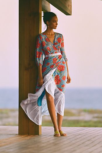 3ec73817b99 Farm Rio for Anthropologie Susanne Maxi Wrap Dress