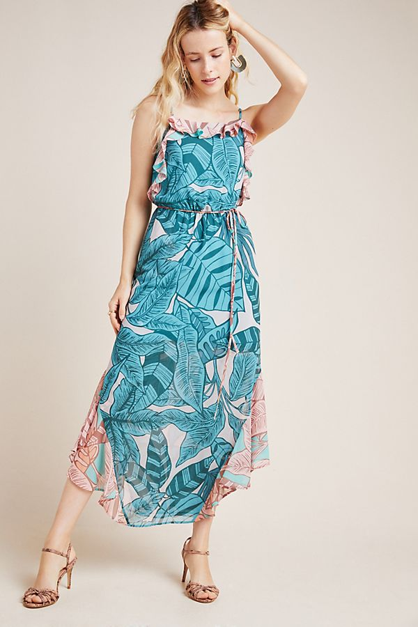 Slide View: 1: Farm Rio Ruffled Botanical Maxi Dress