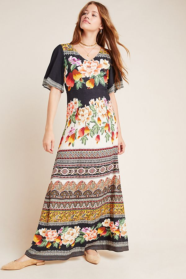Slide View: 1: Farm Rio for Anthropologie Esmeralda Floral Maxi Dress