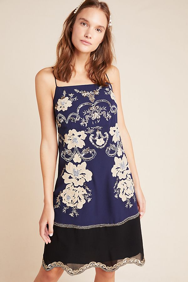 Slide View: 1: Allaire Embroidered Slip Dress