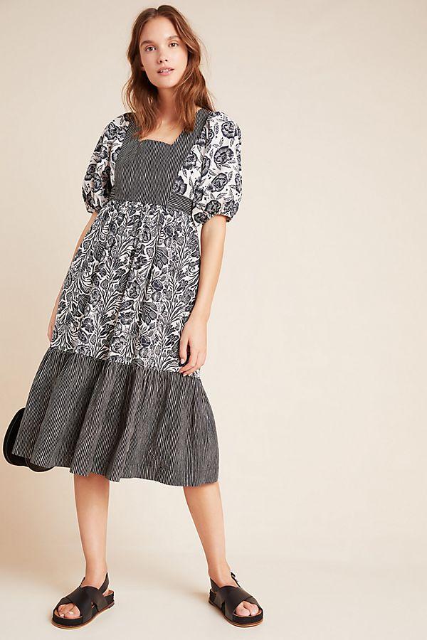 Slide View: 1: Adrienne Flounced Midi Dress
