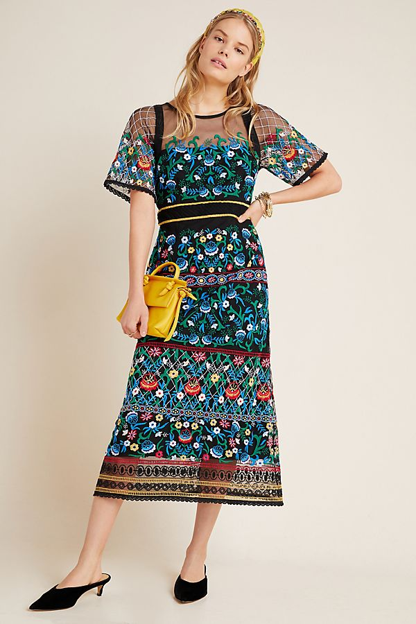 Slide View: 1: Esther Embroidered Midi Dress
