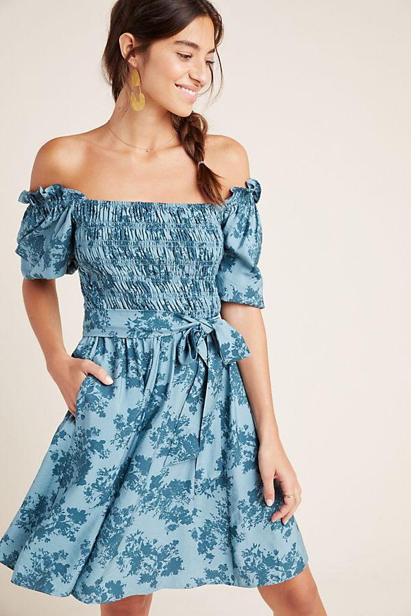 Shiloh Off The Shoulder Smocked Mini Dress by Gal Meets Glam