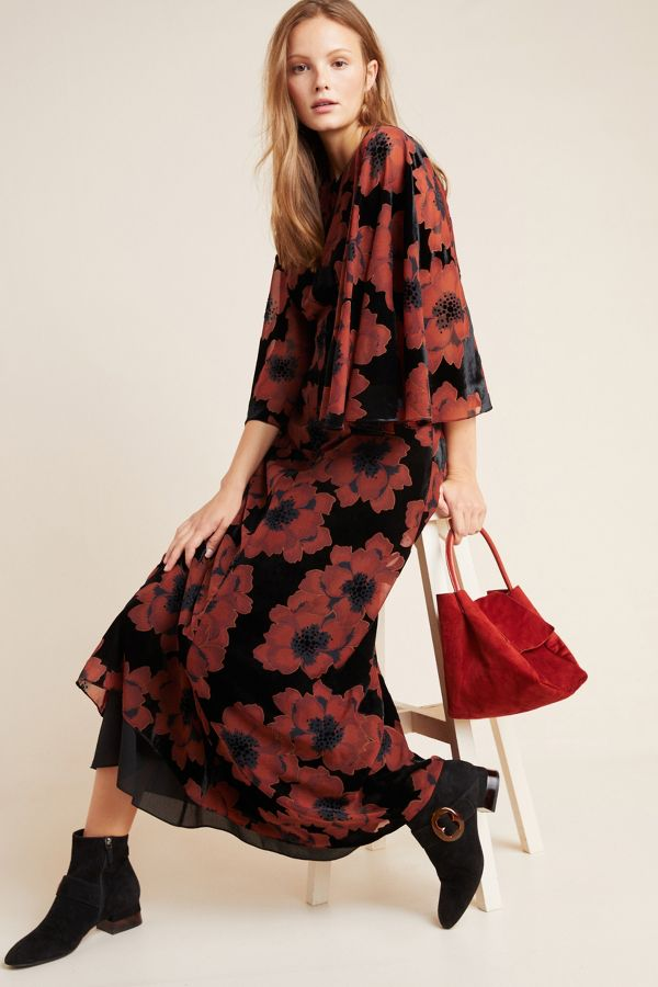 Flocked Maxi Dress