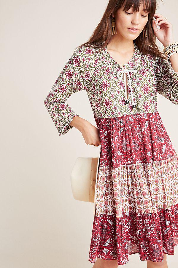 Slide View: 1: Etheline Peasant Midi Dress
