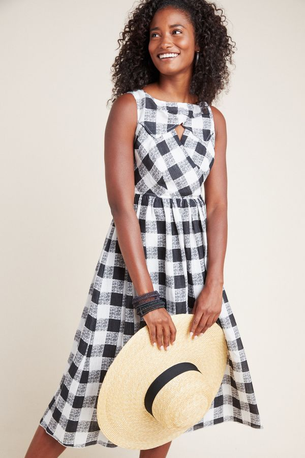 Florence Gingham Midi Dress - come discover Over 50 Daily Beauty: Gentle Rhythms for Skin, Makeup & Hair As Well As Quotes to Pin and Outfit Ideas.