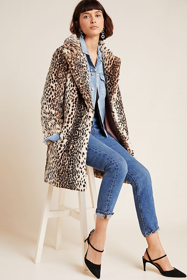 Slide View: 1: Clemence Faux Fur Coat
