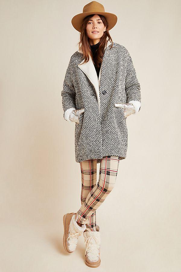 Slide View: 1: Textured Cocoon Jacket