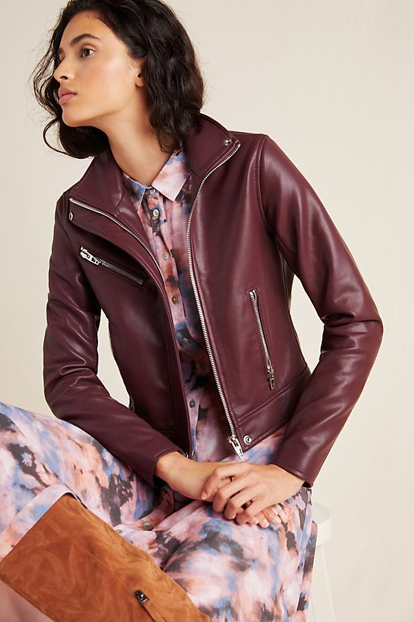 Slide View: 1: Arden Faux Leather Moto Jacket