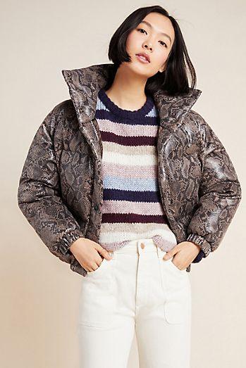 Safa Snake-Printed Puffer Jacket