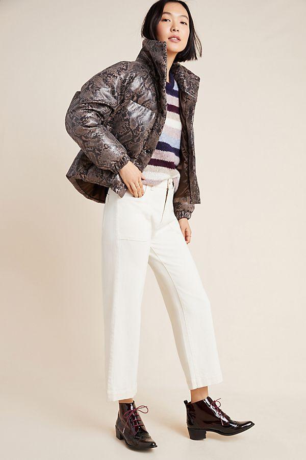 Slide View: 1: Safa Snake-Printed Puffer Jacket