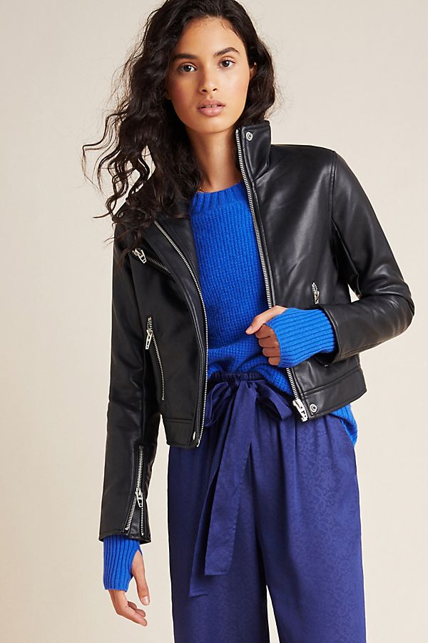 Slide View: 4: Essential Faux Leather Moto Jacket