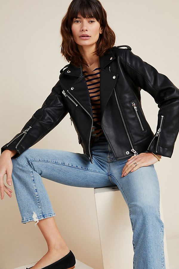 Slide View: 1: Classic Faux Leather Moto Jacket