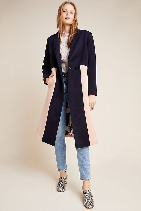 Slide View: 1: Halsey Colorblocked Wool Coat